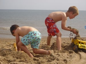 Building sand castles at Chapel St Leonards