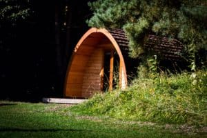 One of our glamping camping pods at our site in Lincolnshire set back into the woodland